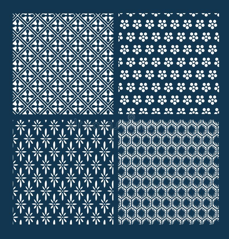 Японская картина вектора установила восточное геометрии традиционное стоковое фото rf