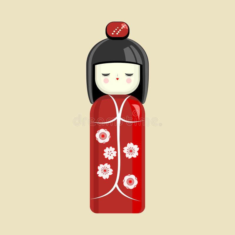 Японская кукла Восточная игрушка, сувенир, знак Девушка в кимоно вектор иллюстрация вектора