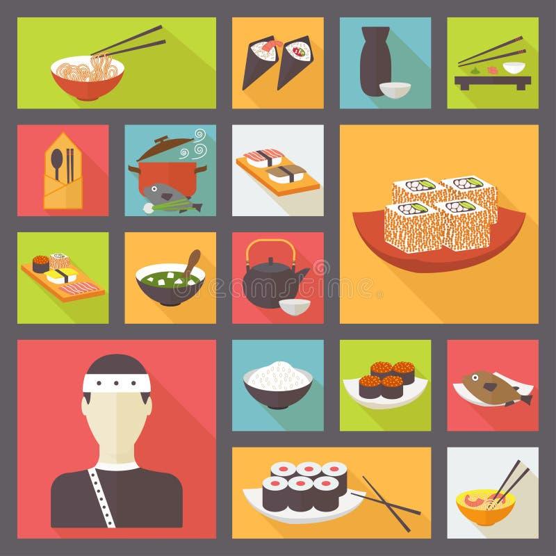Японская кухня, значки еды установила, плоский дизайн иллюстрация штока