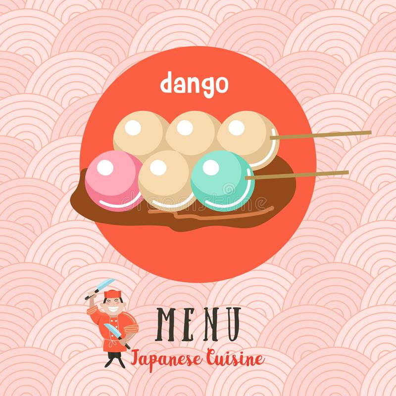 Японская кухня Японский шеф-повар Комплект японского традиционного dis бесплатная иллюстрация