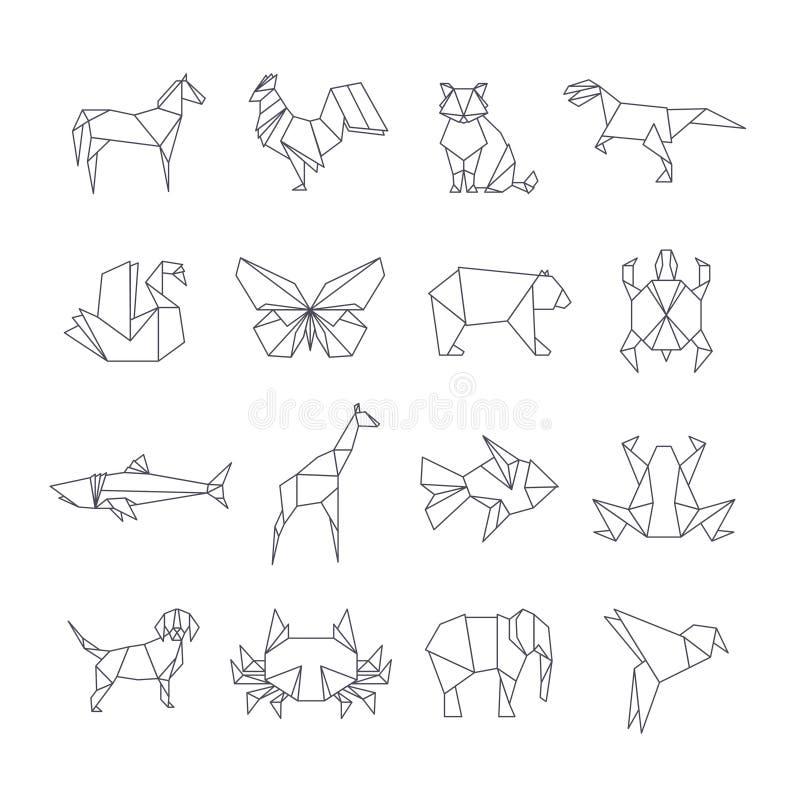 Японская линия значки вектора животных бумаги origami иллюстрация вектора