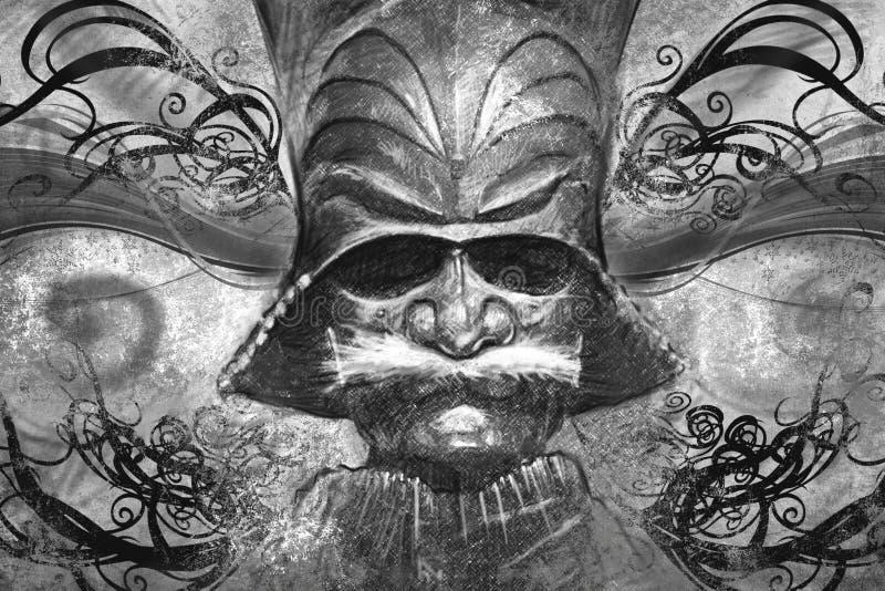 Японская маска, иллюстрация татуировки иллюстрация штока