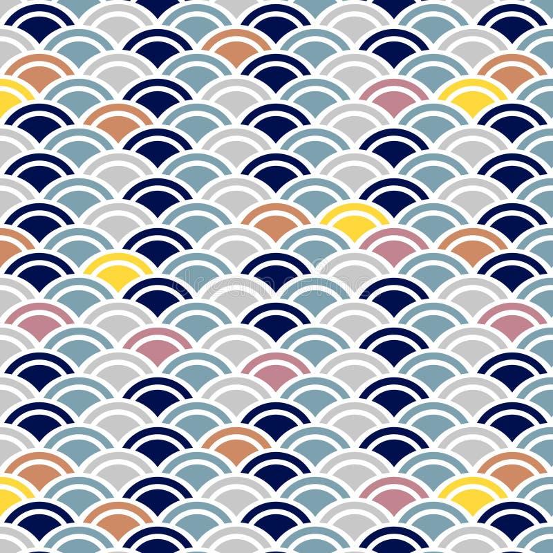 Японская милая картина волны иллюстрация вектора