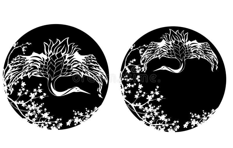 Японская птица крана среди зацветая дизайна вектора Сакуры иллюстрация вектора