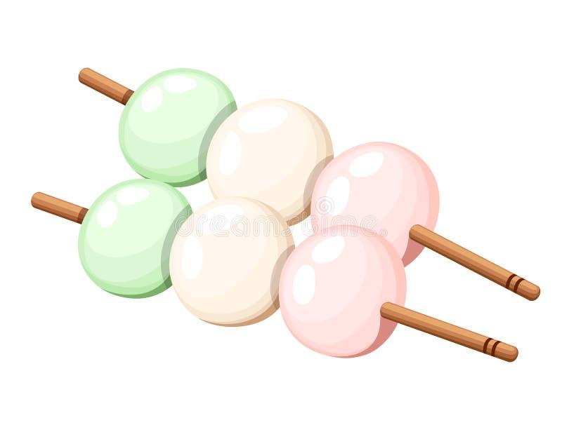 Японская сладостная иллюстрация dango другого цвета десерта риса изолированная на белой предпосылке иллюстрация вектора