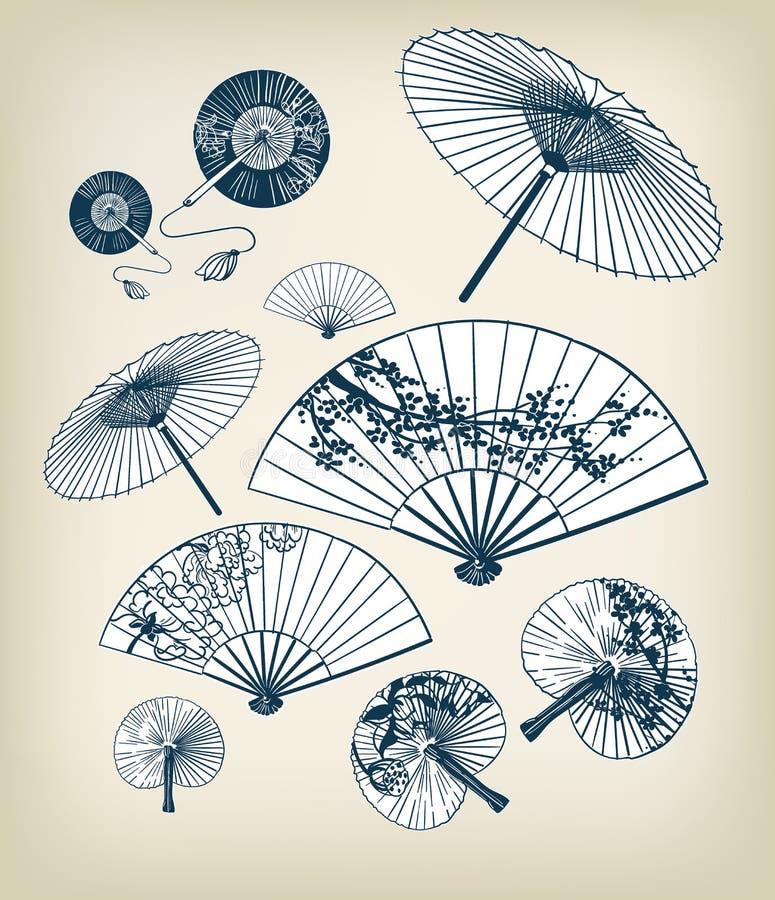 Японская традиционная иллюстрация вектора установила зонтики и потехи конструируют элементы стоковые изображения
