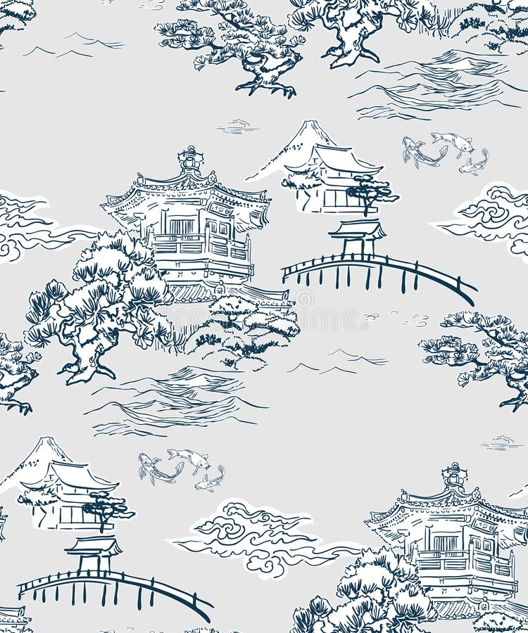 Японские горы сосны картины вектора взгляда виска стоковое изображение rf