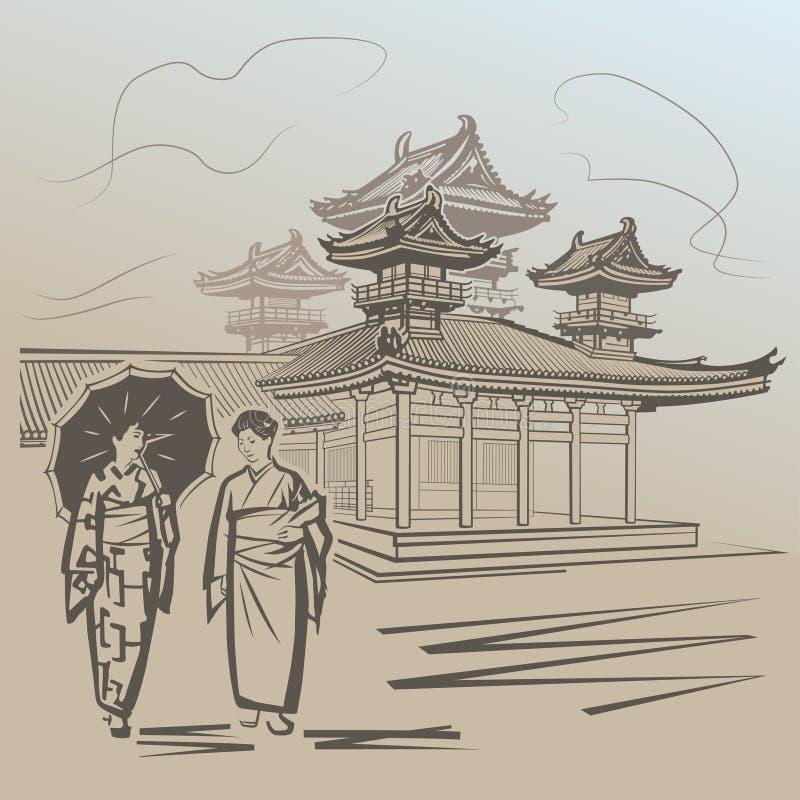 Японские девушки иллюстрация штока