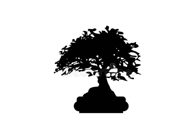 Японские значки силуэта завода логотипа дерева бонзаев на белой предпосылке, черном силуэте бонзаев Детальное изображение r стоковые изображения