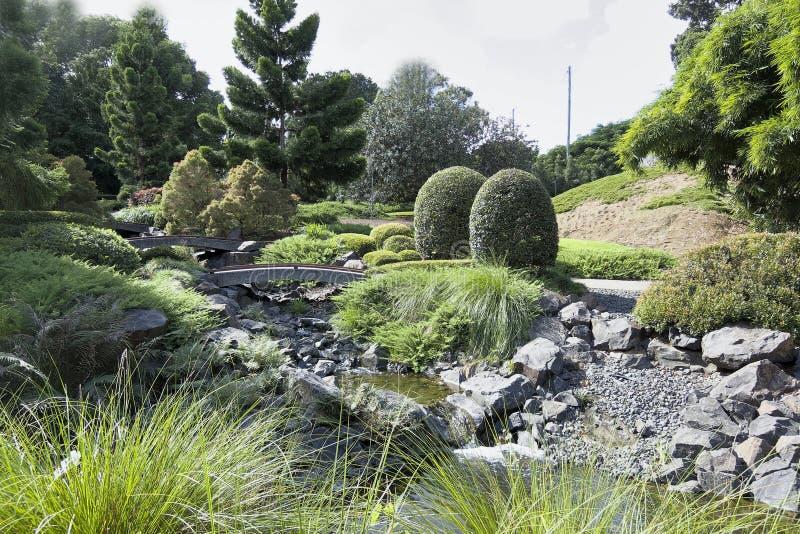 Японские сады с зеленой вегетацией стоковые фото
