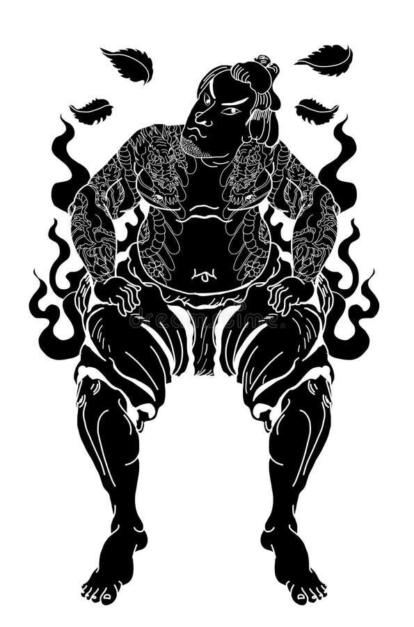 Японские самураи с лист и драконом татуируют полное тело Нарисованный рукой традиционный японский вектор людей бесплатная иллюстрация