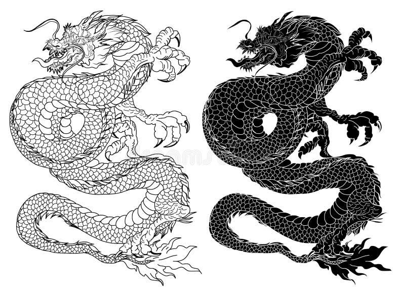 Японские самураи с лист и драконом татуируют полное тело Нарисованный рукой традиционный японский вектор людей иллюстрация вектора
