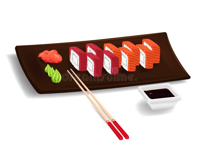 Японские суши с палочками иллюстрация штока