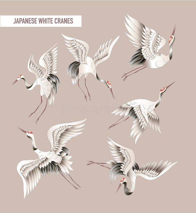 Японский белый кран в стиле батика также вектор иллюстрации притяжки corel иллюстрация вектора
