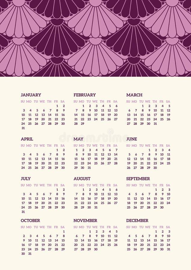 Японский введенный в моду календарь 2016 иллюстрация вектора