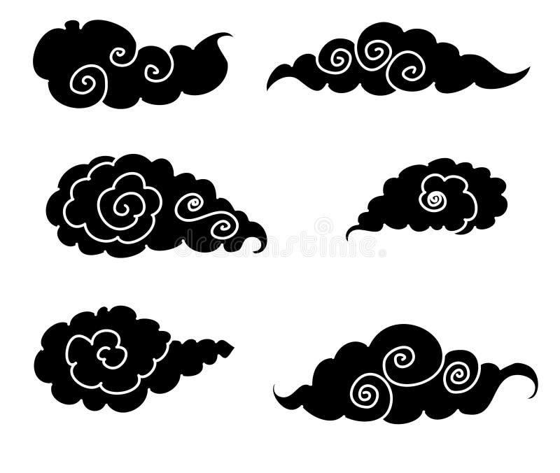 Японский вектор изолята дизайна татуировки облака бесплатная иллюстрация