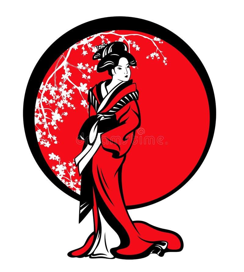 Японский дизайн вектора гейши и цветения Сакуры иллюстрация штока