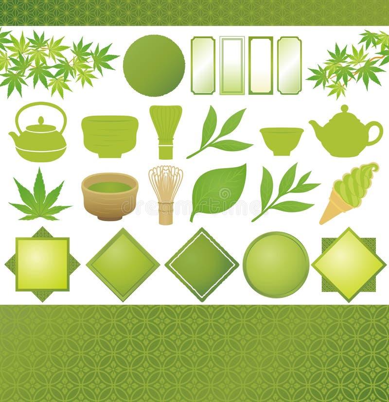 Японский зеленый чай иллюстрация штока