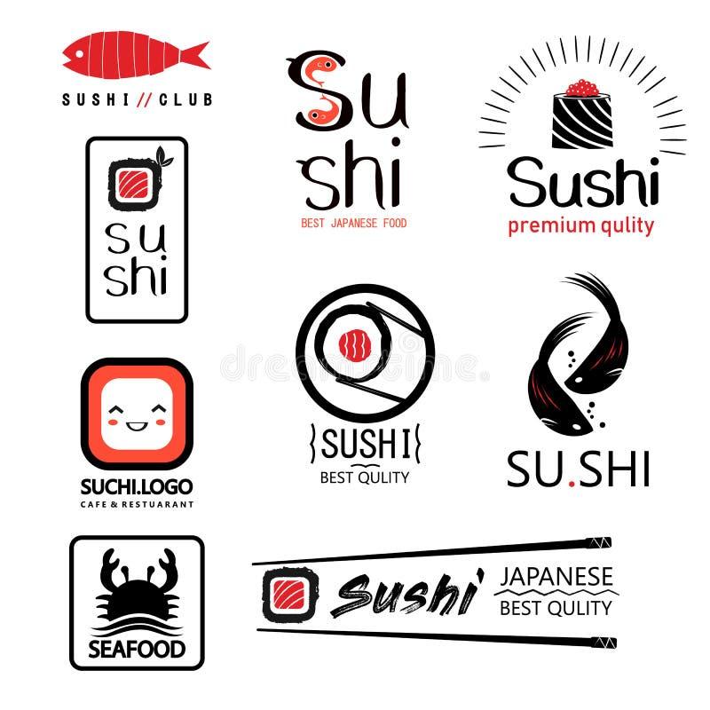 Японский комплект ярлыков еды с различными сушами иллюстрация штока