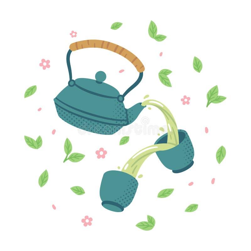 Японский комплект зеленого чая иллюстрация штока