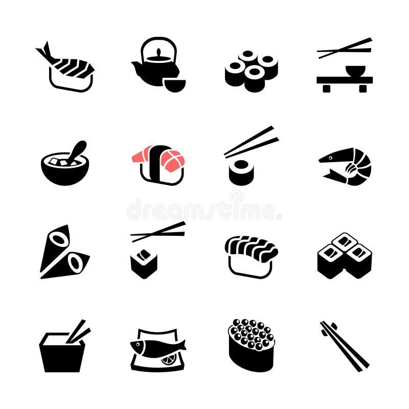 Японский комплект значка сети суш еды иллюстрация вектора