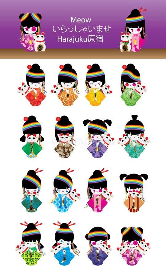 Японский комплект Harajuku Maneki Neko девушки куклы бесплатная иллюстрация