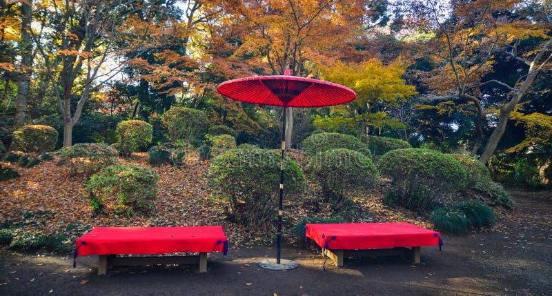 Японский красный зонтик на парке города стоковое фото rf