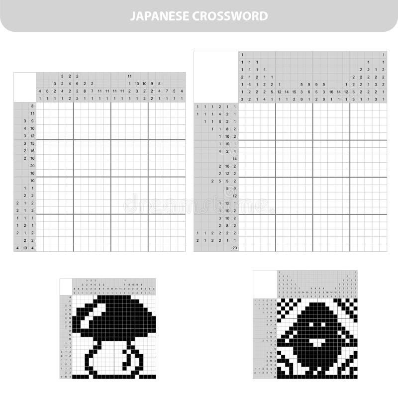 Игра головоломки образования для ребят школьного возраста японский кроссворд с ответом бесплатная иллюстрация