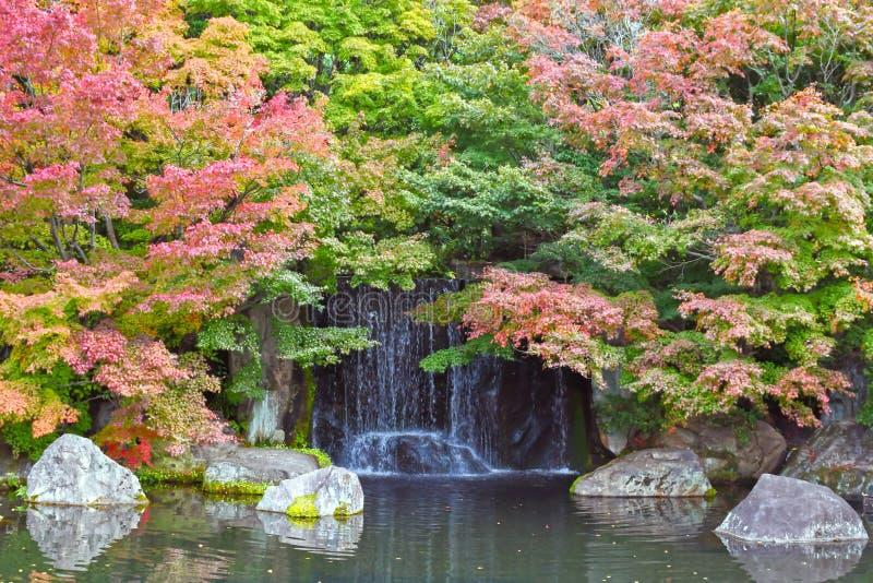Японский ландшафт водопада во время осени на Koko-en, Himeji, j стоковая фотография
