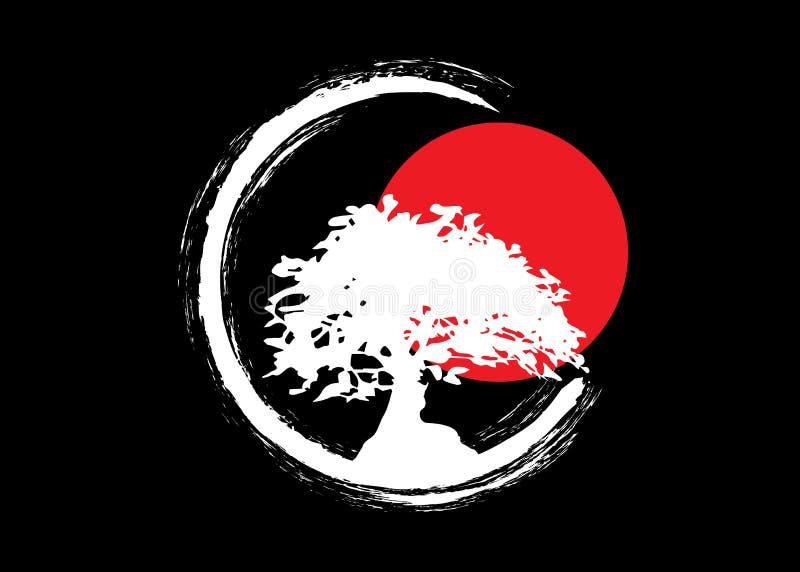 Японский логотип дерева бонзаев, белые значки силуэта завода на черной предпосылке, зеленый силуэт экологичности бонзаев и красны стоковое изображение