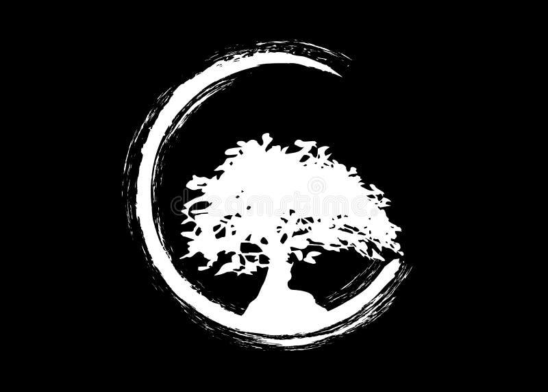 Японский логотип дерева бонзаев, значки силуэта завода на белой предпосылке, зеленом силуэте бонзаев Детальное изображение r стоковые фото