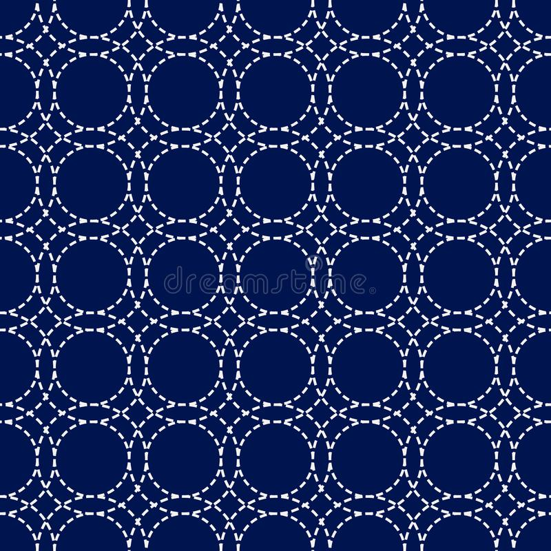 Японский орнамент sashiko Азиатские мотивы вышивки иллюстрация вектора