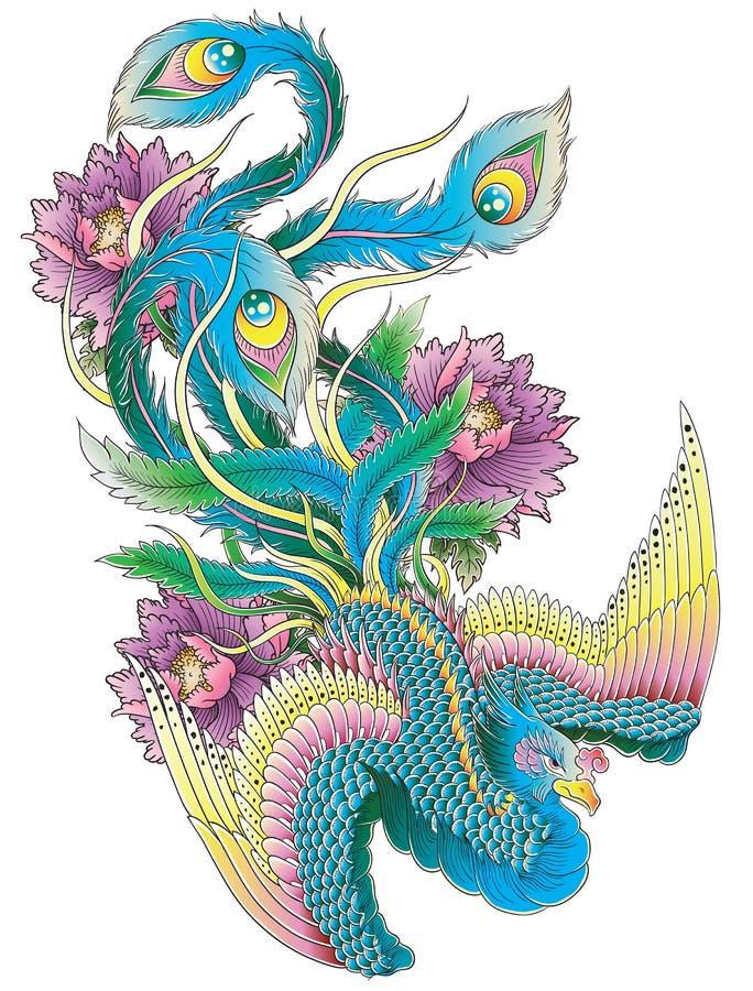 Японский павлин иллюстрация вектора