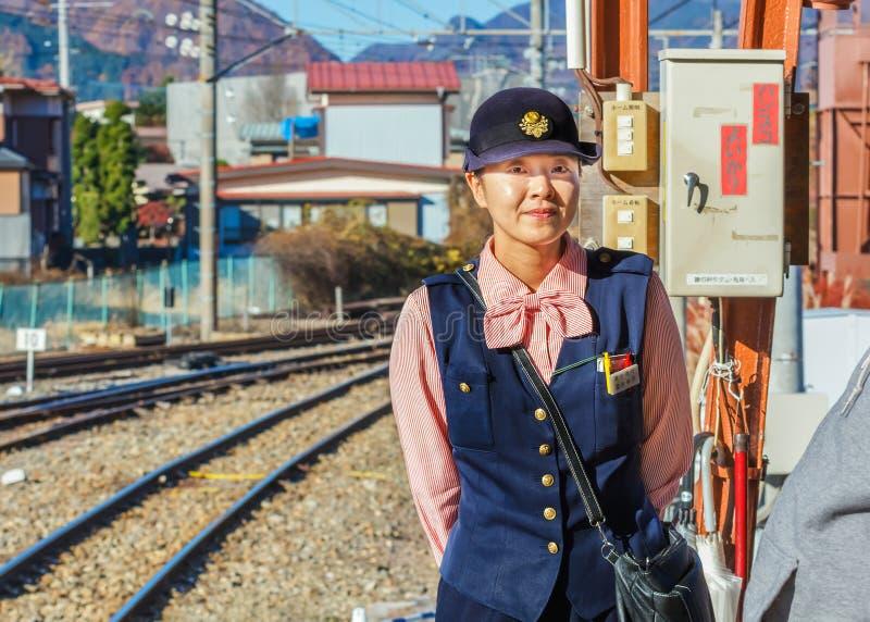 Японский проводник поезда стоковые изображения rf