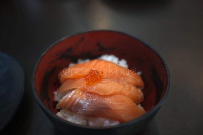 Японский рис с семгами и семгами Дон стоковые фотографии rf