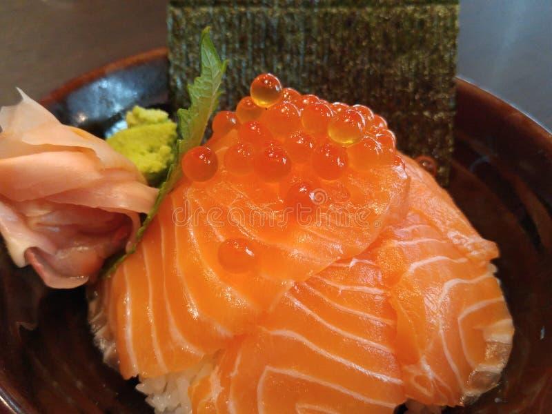 Японский рис с семгами (семгами Дон) стоковое фото