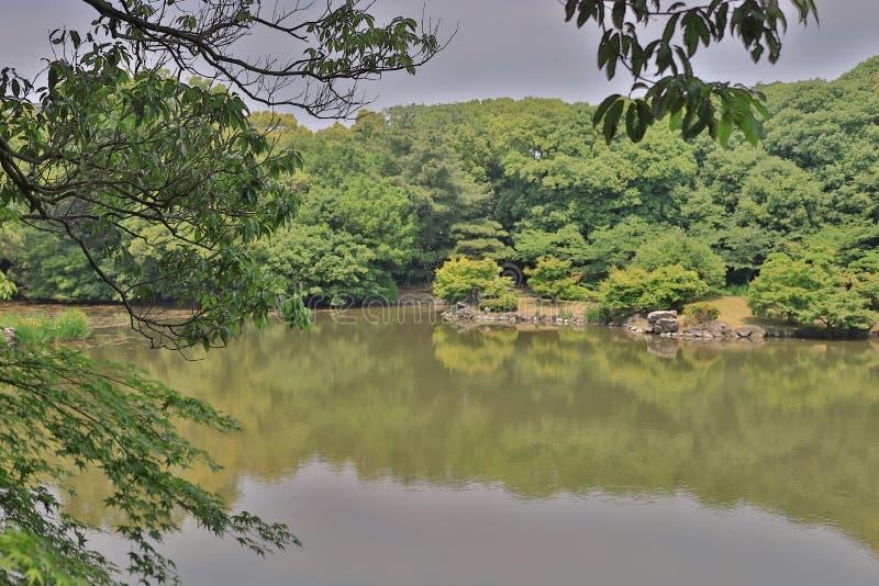 Японский сад с прудом и рекой, садом Ritsurin стоковая фотография rf