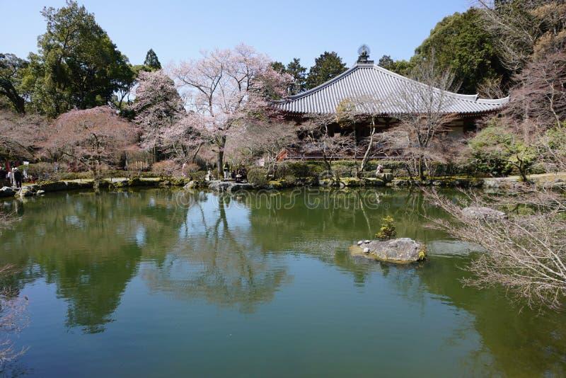 Японский сад в виске Daigoji, Киото стоковые фотографии rf