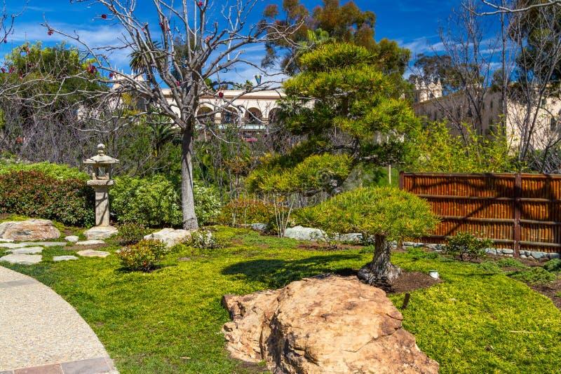 Японский сад в парке бальбоа стоковое изображение rf