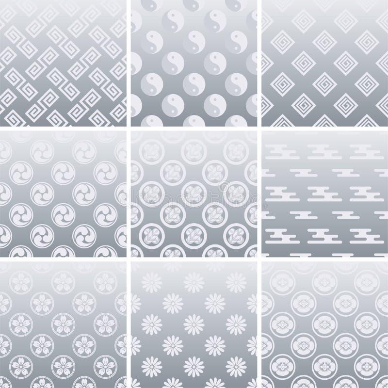 японский серебр картины традиционный иллюстрация вектора