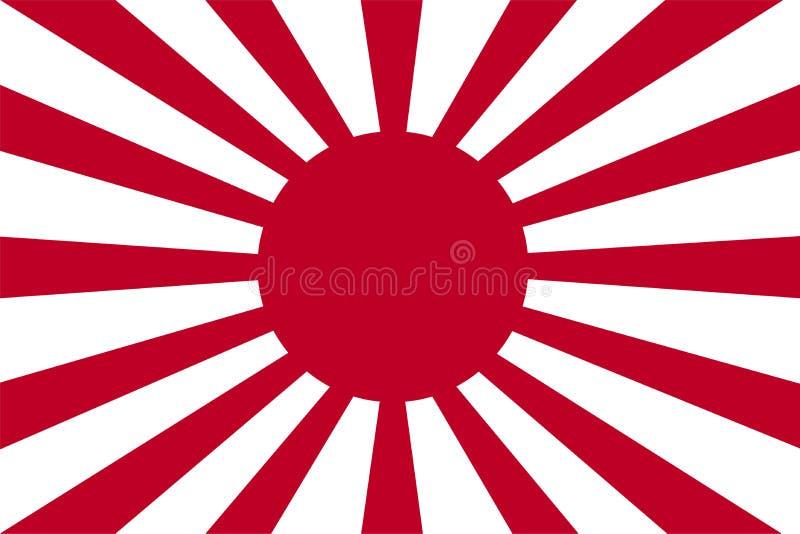 Японский флаг Флаг армии имперского японца Символ восходящего солнца иллюстрация вектора