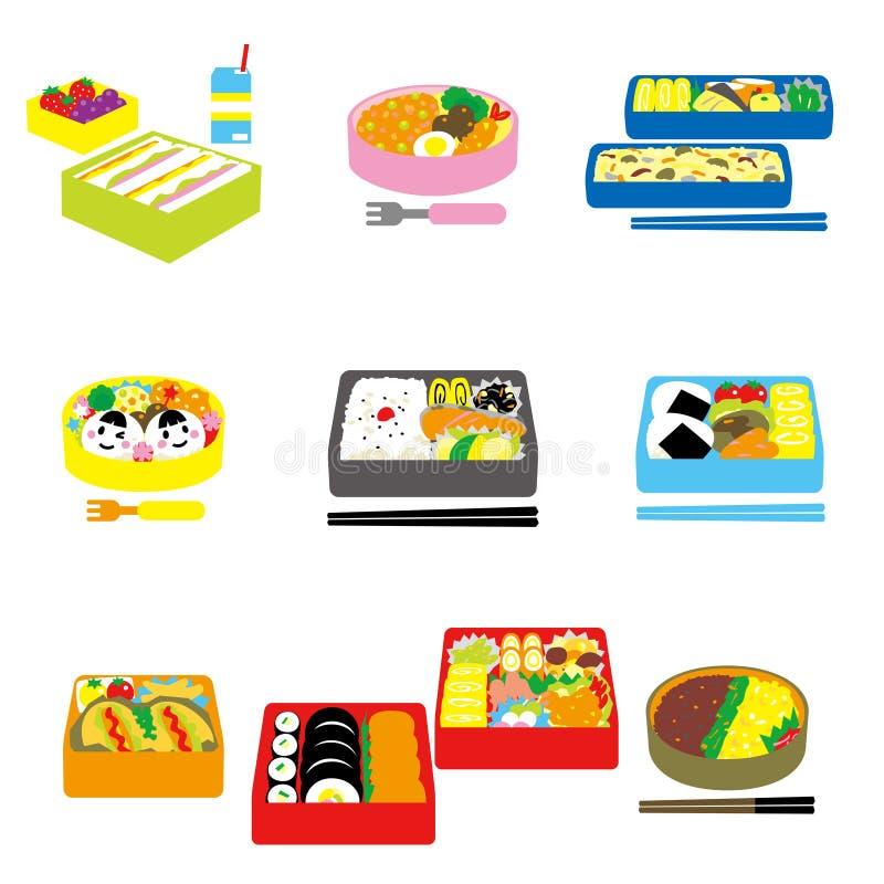 Японское БЕНТО, обед коробки, коробка бенто бесплатная иллюстрация