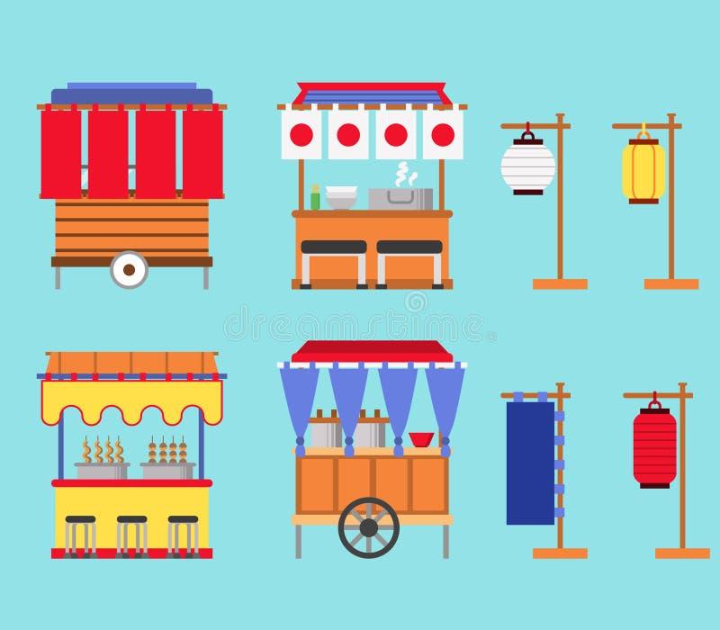 Японское собрание продовольственного магазина улицы иллюстрация вектора