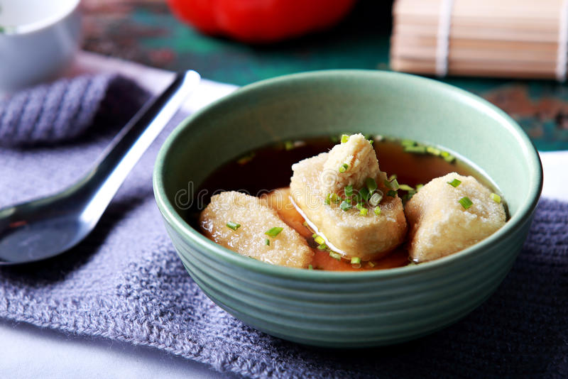Японское тофу agedashi кухни стоковая фотография