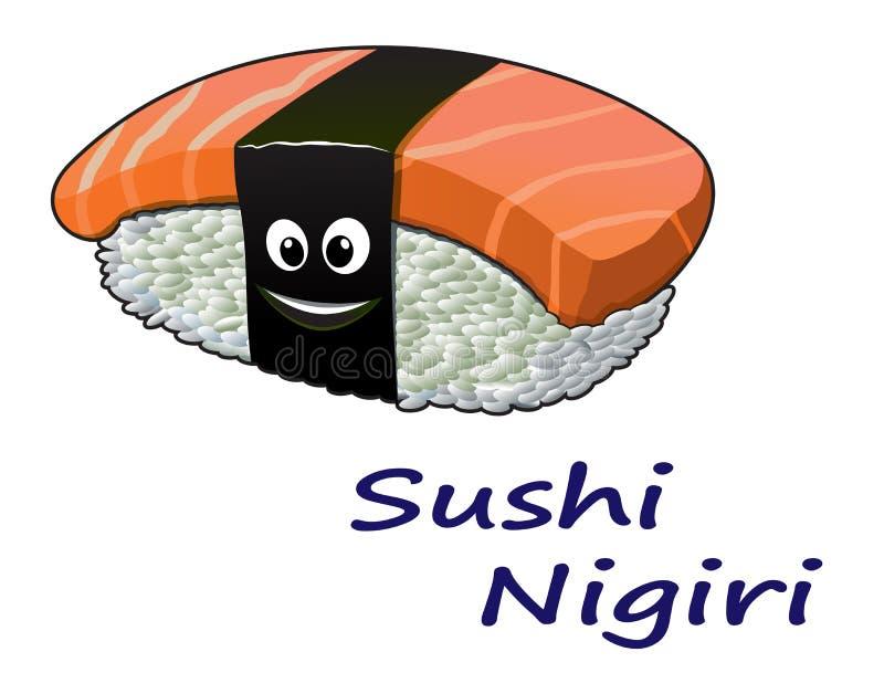 Японское nigiri суш морепродуктов иллюстрация штока