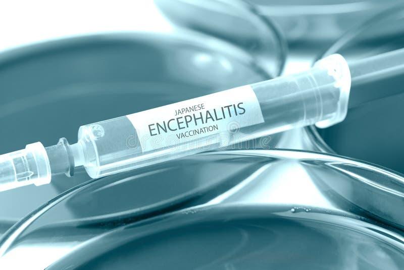 Японской тема вакцинирования энцефалита покрашенная синью стоковое фото rf