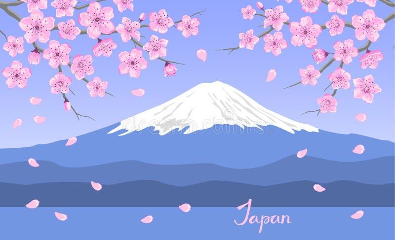 Японцы благоустраивают с зацветая ветвями цветков Сакуры и горой Фудзи иллюстрация вектора