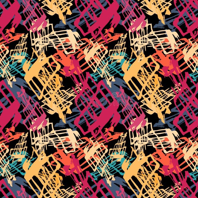 Яркая абстрактная геометрическая безшовная картина в стиле граффити качественная иллюстрация вектора для вашего дизайна иллюстрация штока