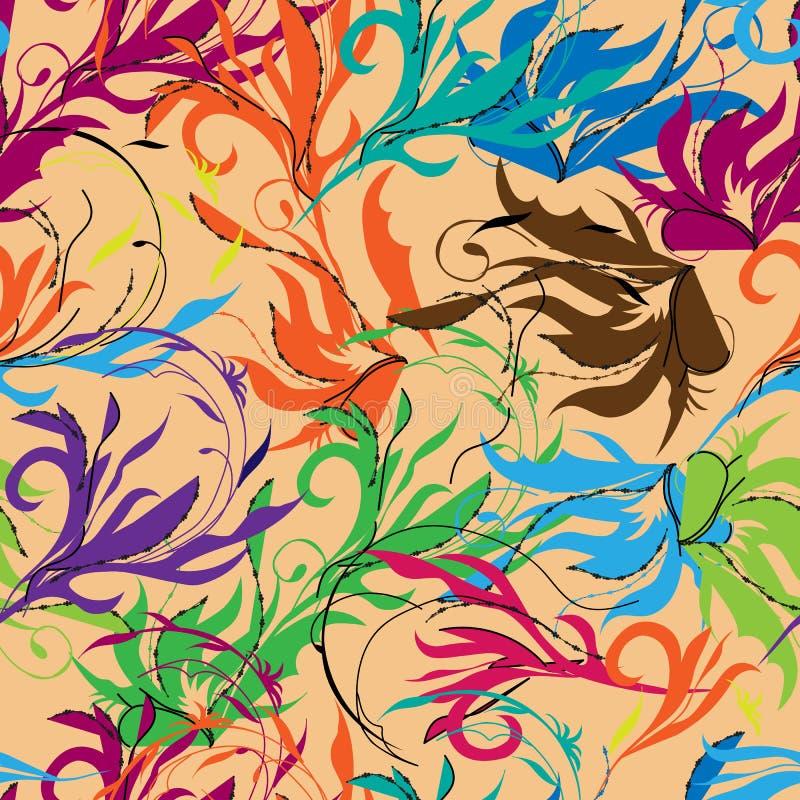 Яркая абстрактная предпосылка, восточный орнамент Флористические красочные элементы руки печати вычерченные на broun бесплатная иллюстрация