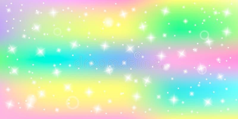Яркая абстрактная предпосылка со светя звездами в палитре единорога пастельных цветов с влиянием bokeh иллюстрация вектора